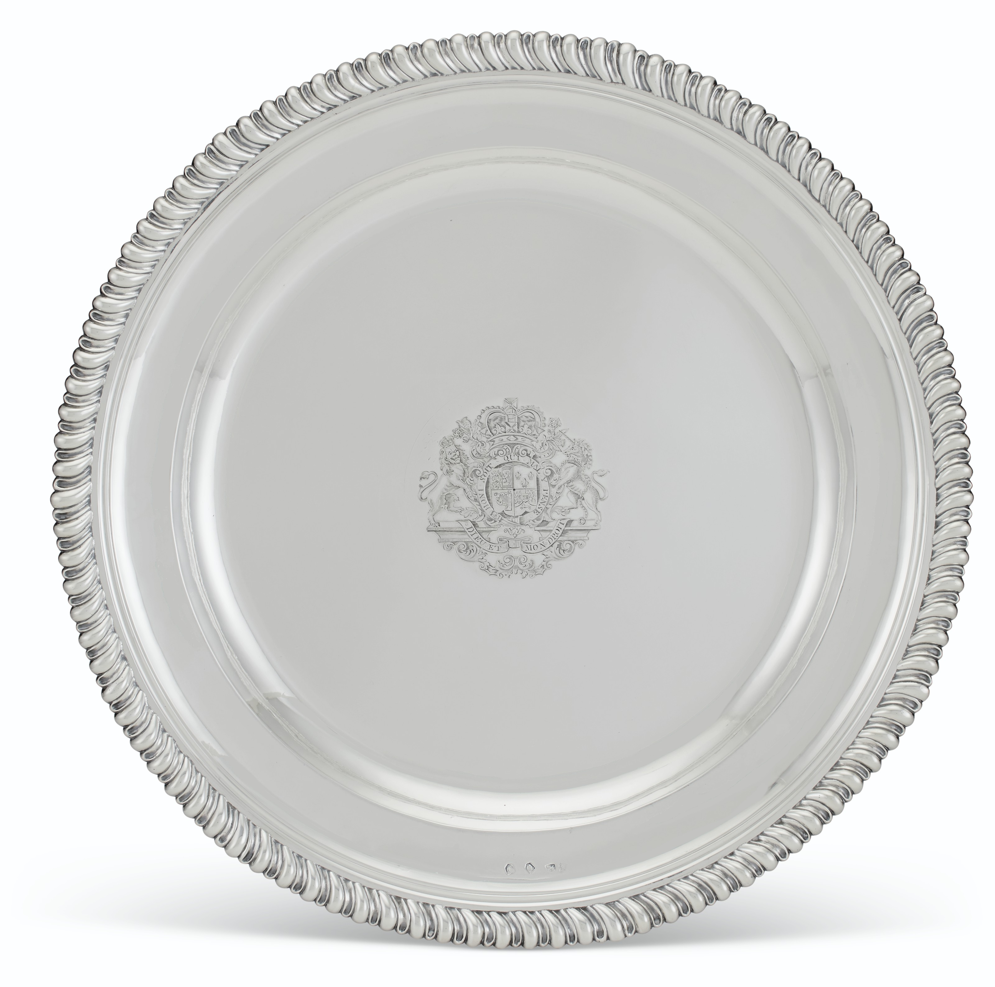 A ROYAL GEORGE II SILVER PRESENATION CHARGER