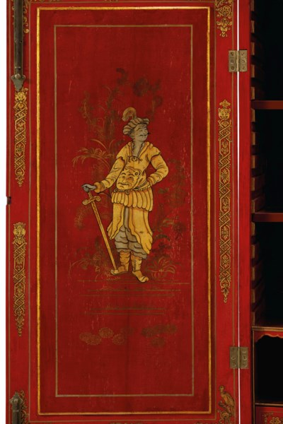 A GEORGE II SCARLET AND GILT-J