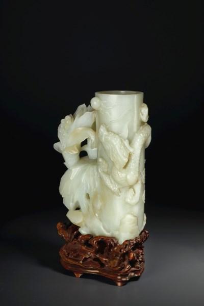 A RARE PALE GREENISH-WHITE JAD