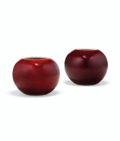 TWO COPPER-RED-GLAZED GLOBULAR