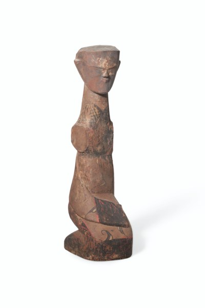 A LACQUERED WOOD FIGURE OF AN