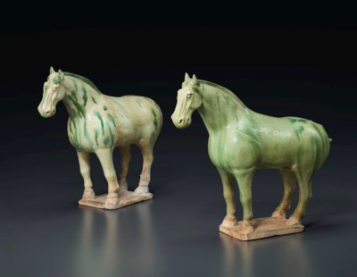 A PAIR OF SMALL GREEN AND STRA