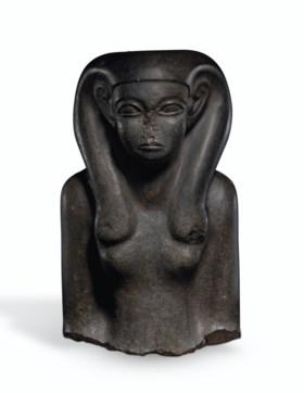 AN EGYPTIAN BASALT PORTRAIT BUST OF A WOMAN