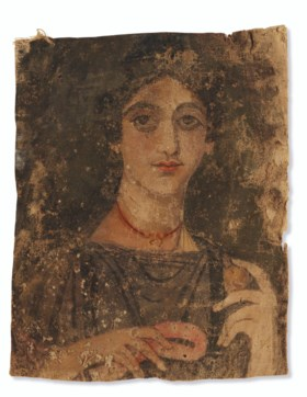 AN EGYPTIAN PAINTED LINEN MUMMY SHROUD WITH A PORTRAIT OF A