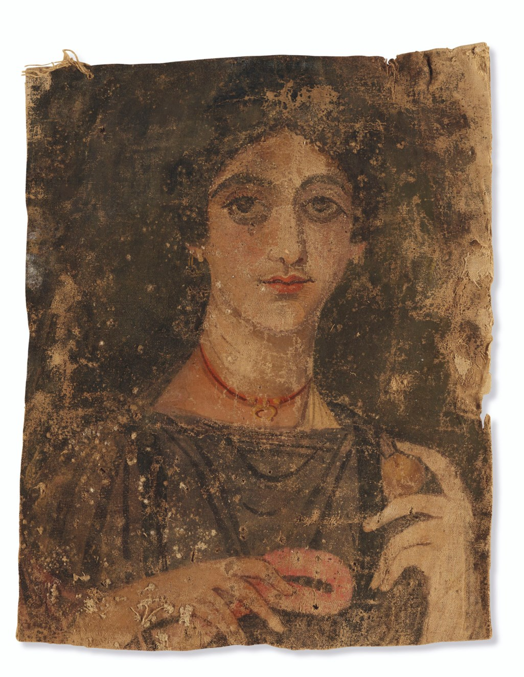 AN EGYPTIAN PAINTED LINEN MUMMY SHROUD WITH A PORTRAIT OF A WOMAN