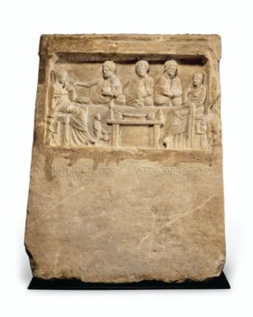 A GREEK MARBLE STELE FOR DIONYSIUS AND APOLLONIUS