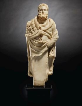 A GREEK MARBLE HIP HERM OF HERAKLES