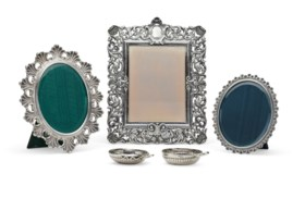 THREE ITALIAN SILVER PHOTO FRAMES AND TWO FRENCH SILVER WINE