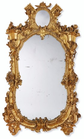 A NORTH EUROPEAN GILTWOOD MIRROR