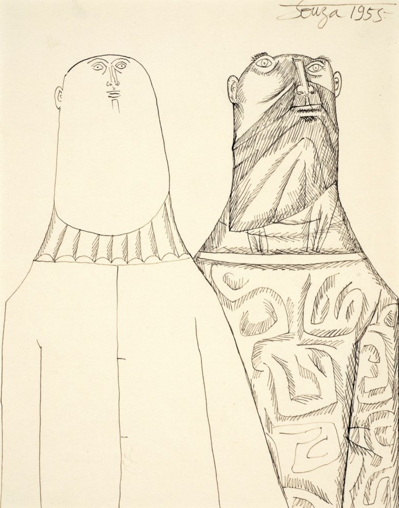 Francis Newton Souza (1924-2002), Untitled (Two Men), 1955. Ink on paper. 9⅞ x 8  in (25.1 x 20.3  cm). Estimate $20,000-30,000. Offered in A Lasting Engagement The Jane and Kito de Boer Collection on 18 March 2020 at Christie's in New York