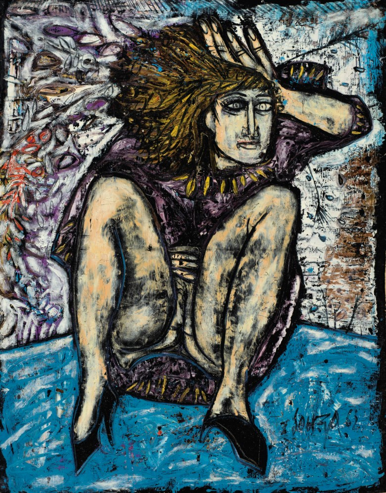 Francis Newton Souza (1924-2002), Untitled (Seated Woman), 1962. Oil on satin laid on canvas.47¾ x 37  in (121.3 x 94  cm). Estimate $150,000-200,000. Offered in A Lasting Engagement The Jane and Kito de Boer Collection on 18 March 2020 at Christie's in New York