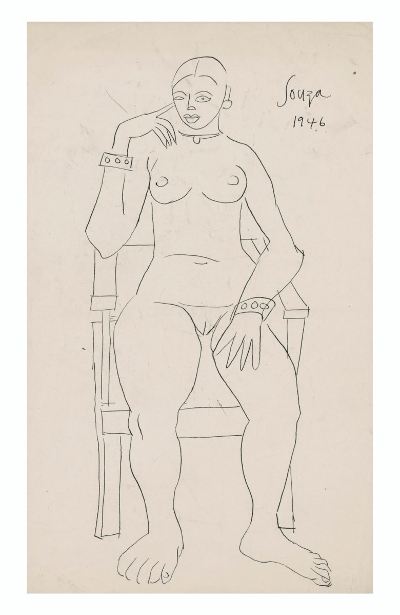 Francis Newton Souza (1924-2002), Untitled (Seated Nude), 1946. Ink on paper. 13⅛  in x 8 ½  in (33.3 x 21.6  cm). Estimate $2,000-3,000. Offered in A Lasting Engagement The Jane and Kito de Boer Collection on 18 March 2020 at Christie's in New York