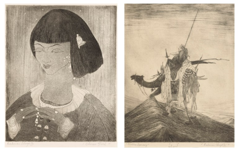 Abdur Rahman Chughtai (1894-1975), Endless Journey; Chinese Girl. Etchings on paper. Plate 14⅞ x 11¾ in (37.8 x 29.8 cm). Estimate $5,000-7,000. Offered in  A Lasting Engagement The Jane and Kito de Boer Collection Online, 24-30 June 2020, Online