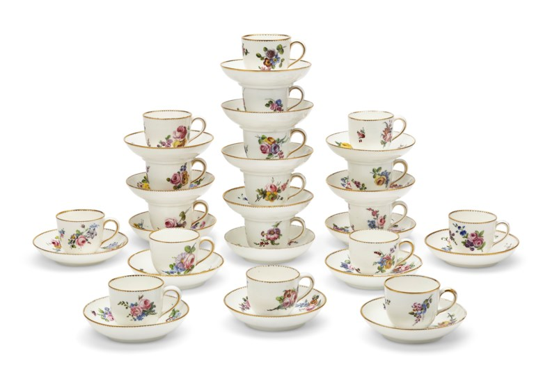 An assembled group of 18 Vincennes and Sèvres porcelain cups and saucers (gobelets 'Boillard' ). The porcelain mid-to-late 18th century, the decoration possibly later. Each painted with scattered bouquets, gilt dentil rims, 5½ in (13.9 cm), the saucers slightly larger. Estimate $2,500-3,500. Offered in The Private Collection of Jayne Wrightsman, 1-15 October, online