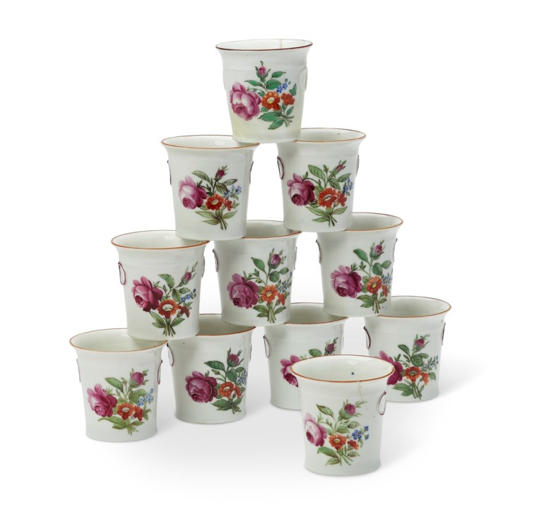11 Russian porcelain miniature cache-pots or cups, early 19th century, Moscow. Impressed marks for the Gardner Factory. 2½ in (6.3 cm) high. Estimate $1,500-2,000. Offered in the The Private Collection of Jayne Wrightsman, 1-15 October, online