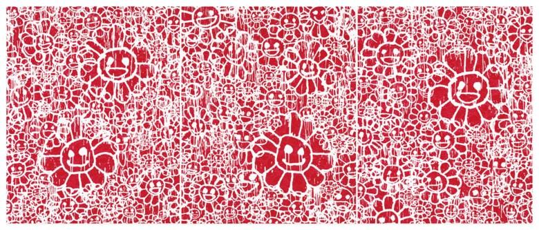 村上隆 x MADSAKI(1962年生和1974年生),《MADSAKI Flowers 红》(全套三张),2017年作。丝网 版画,各幅尺寸:画心:37.5 x 30公分(14 ¾ x 11 ¾吋),画纸:47 x 38公分(18 ½ x 15吋)。估价:6,000-8,000美元。此拍品将于2020年4月21至30日佳士得亚洲当代艺术网上专场呈献