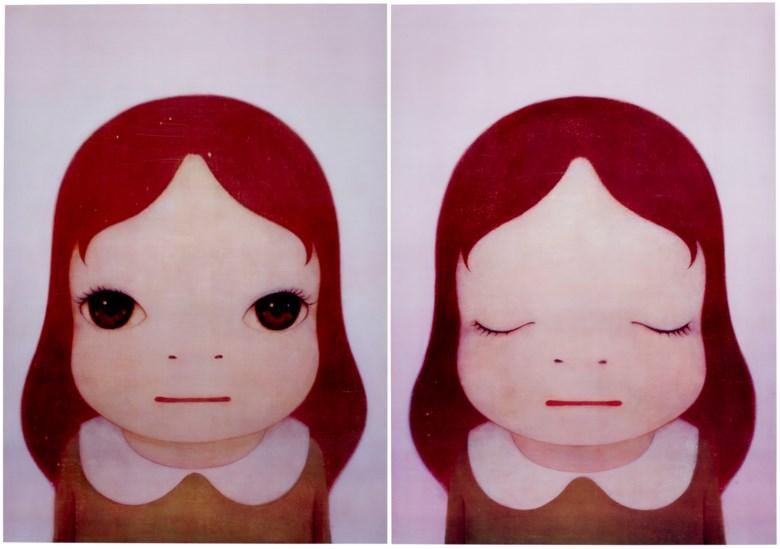 奈良美智(日本,1959年生),《宇宙女孩:打开眼睛闭上眼睛》,2008年作。一组两件 胶印石版 版画,71.9 x 51.9公分(28 ¼ x 20 38寸)。估价:2,500–3,500美元。此拍品将于2020年4月21至30日佳士得亚洲当代艺术网上专场呈献