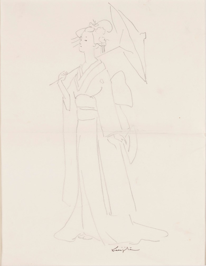 Léonard Tsuguharu Foujita (1886-1968), Untitled (Madame Butterfly). Lead on tracing paper. 26.5 x 20.5 cm (10⅜ x 8⅛ in). Estimate $1,000-2,000 Offered in  Contemporary Art Asia, Online, 19-26 March 2020