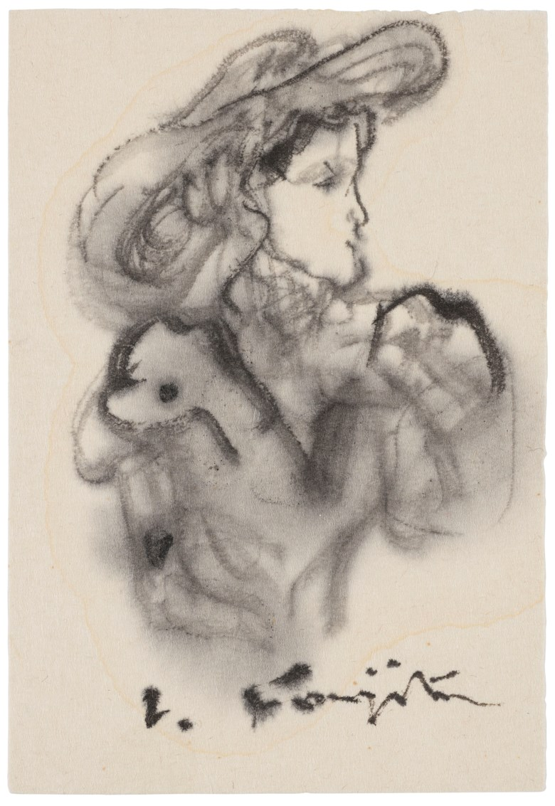 Léonard Tsuguharu Foujita, (1886-1968), Untitled (Elegante au Chapeau). Ink and ink wash on paper. 12 x 8.3 cm (4¾ x 3¼ in). Estimate $1,500-2,500. Offered in  Contemporary Art Asia, Online, 19-26 March 2020