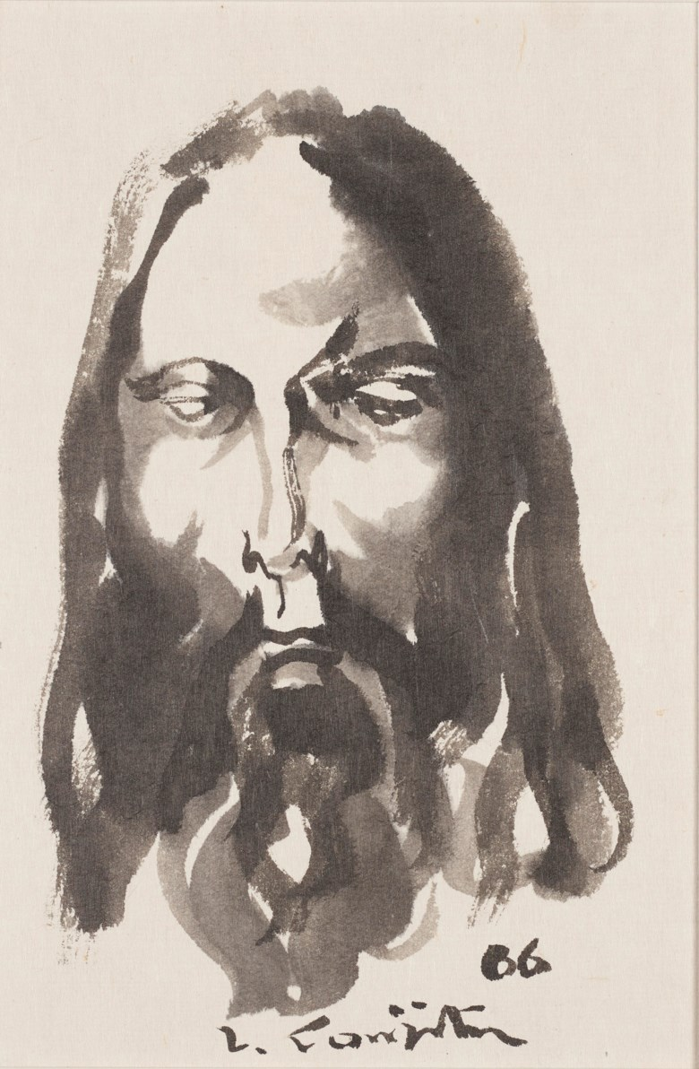 Léonard Tsuguharu Foujita (1886-1968), Untitled (Le Christ), 1966. Ink and ink wash on paper. 25 x 17.5 cm (9⅞ x 6⅞ in). Estimate $2,000-3,000 Offered in  Contemporary Art Asia, Online, 19-26 March 2020
