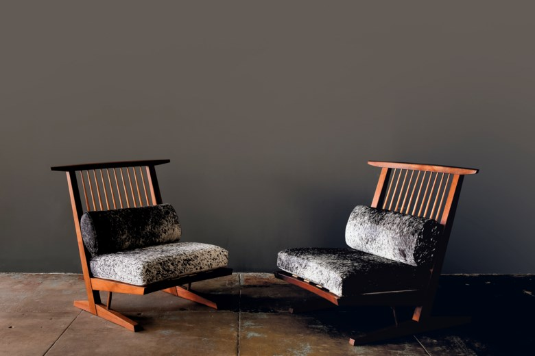 George Nakashima (1905-1990), Pair of 'Conoid' lounge chairs, 1981. Each 33½ in (85 cm) high; 34½ in (87.6 cm) wide; 30½ in (77.4 cm) deep. Estimate $30,000-50,000. Offered in Creating Space Design Online, 21-31 July 2020, Online