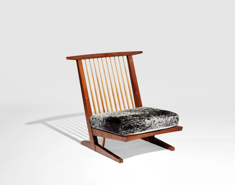 George Nakashima (1905-1990), 'Conoid' lounge chair, 1981. 33½in (85 cm) high; 34½ in (87.6 cm) wide; 30½in (77.4 cm) deep. Estimate $15,000-20,000. Offered in Creating Space Design Online, 21-31 July 2020, Online