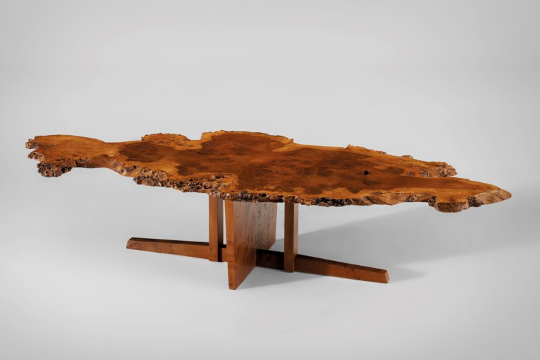 George Nakashima (1905-1990), Rare free-edge low table, 1966. 18 in (45.72 cm) high; 83½ in (212 cm) wide; 34 in (86.36 cm) deep. Estimate $80,000-120,000. Offered in Creating Space Design Online, 21-31 July 2020, Online