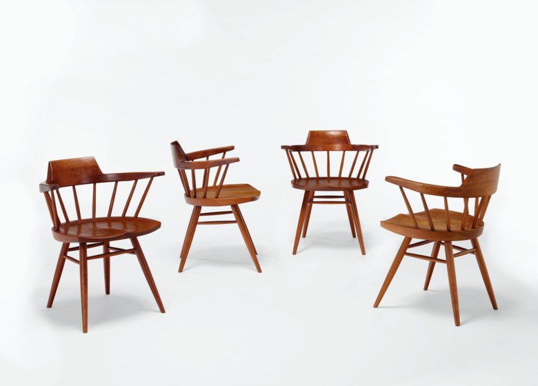 George Nakashima (1905-1990), Set of four 'Captain' chairs, 1964. Each 28½ in (72 cm) high; 24½ in (62 cm) wide; 20 in (51 cm) deep. Estimate $5,000-7,000. Offered in Creating Space Design Online, 21-31 July 2020, Online