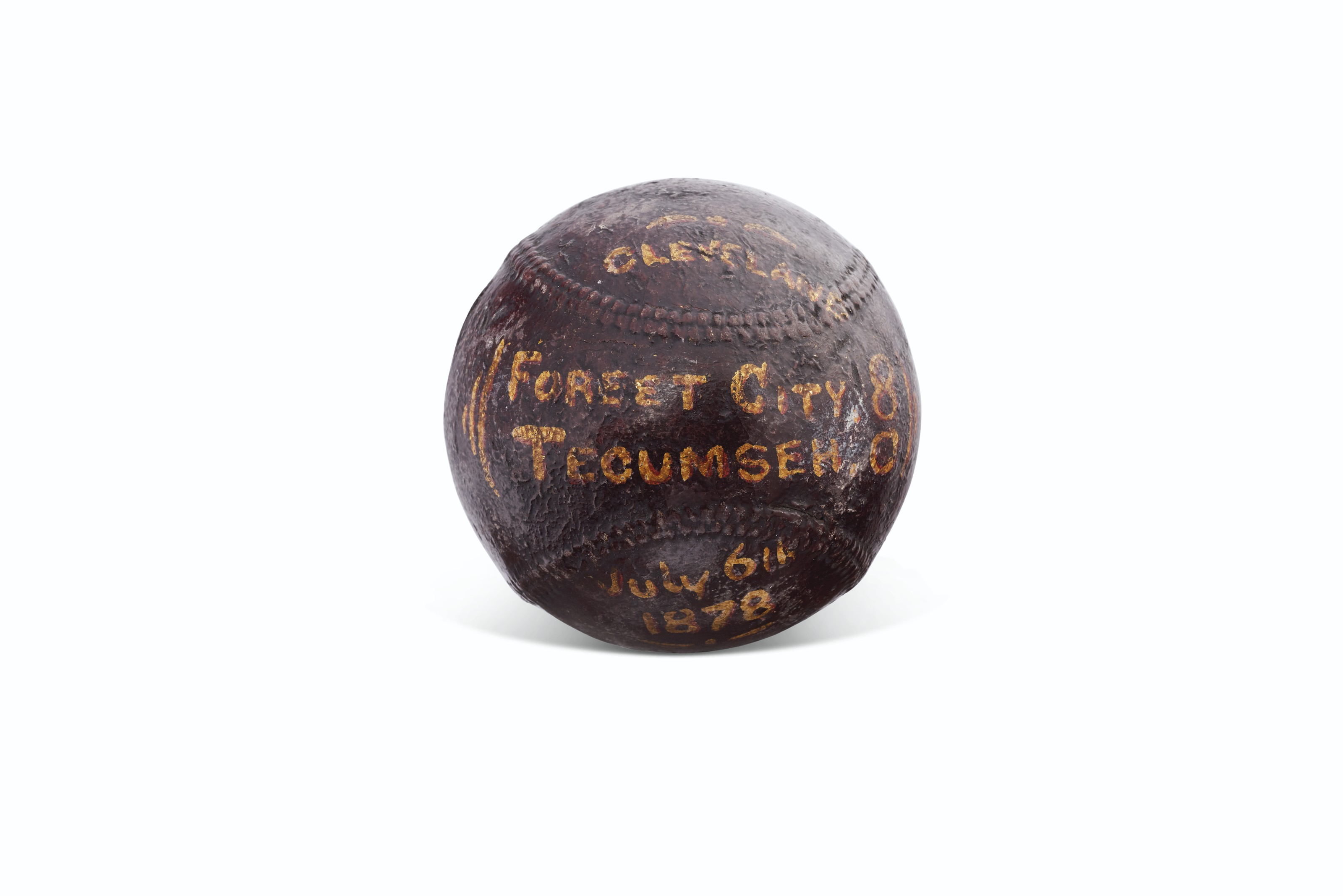 July 6, 1878 Cleveland Forest City vs. Tecumseh BBC Trophy Baseball