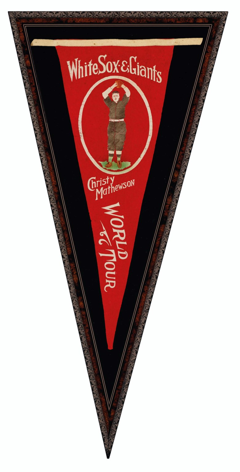 Christy Mathewson 1913-14 World Tour souvenir pennant. Sold for $13,750 in Home Plate A Private Collection of Important Baseball Memorabilia on 16 December 2020 at Christie's in New York