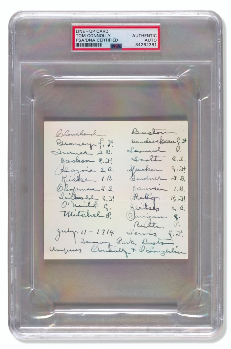 Babe Ruth's first Major League game 'lineup card',11 July 1914. Sold for $100,000 in Home Plate A Private Collection of Important Baseball Memorabilia on 16 December 2020 at Christie's in New York