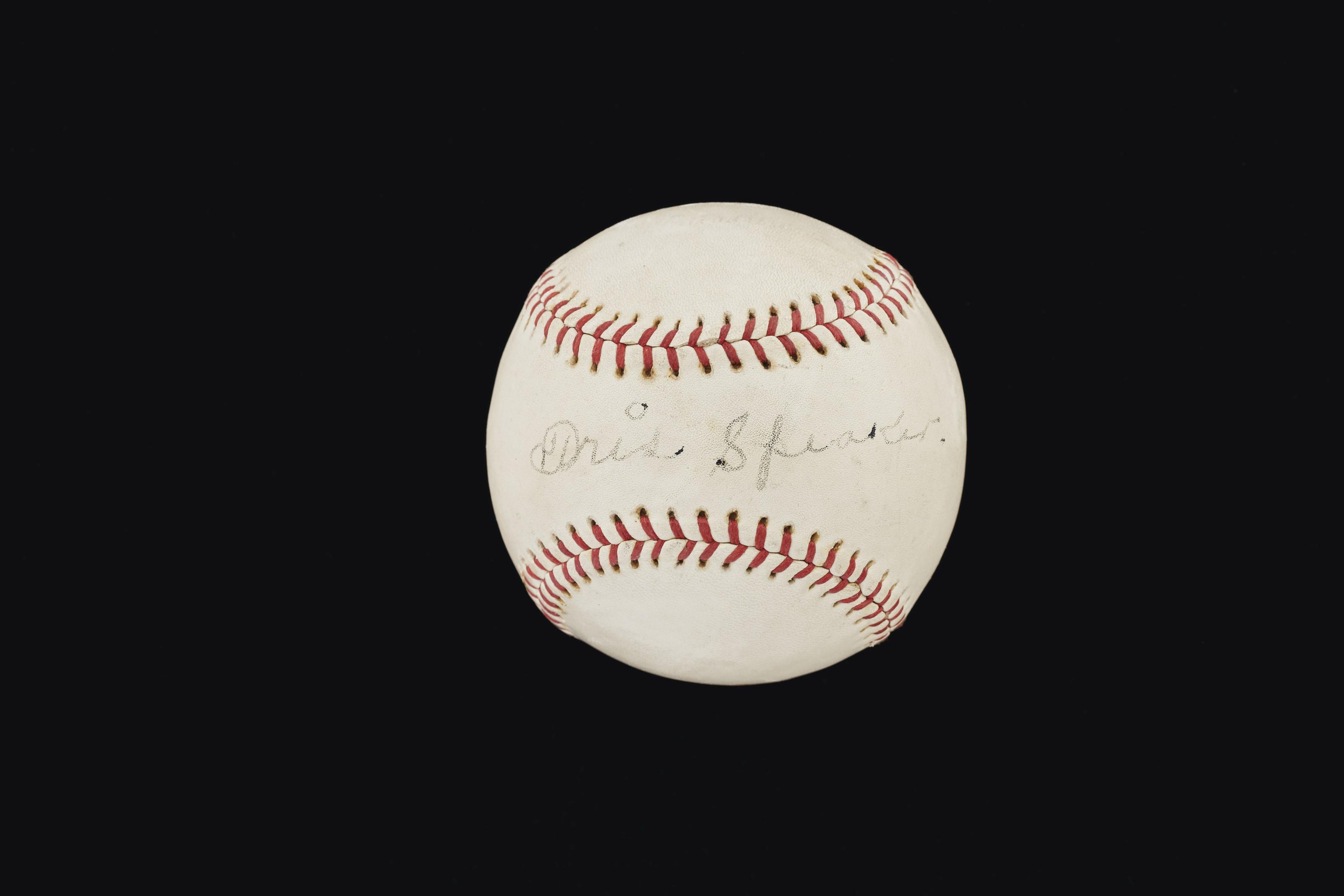 Rare Tris Speaker single signed baseball