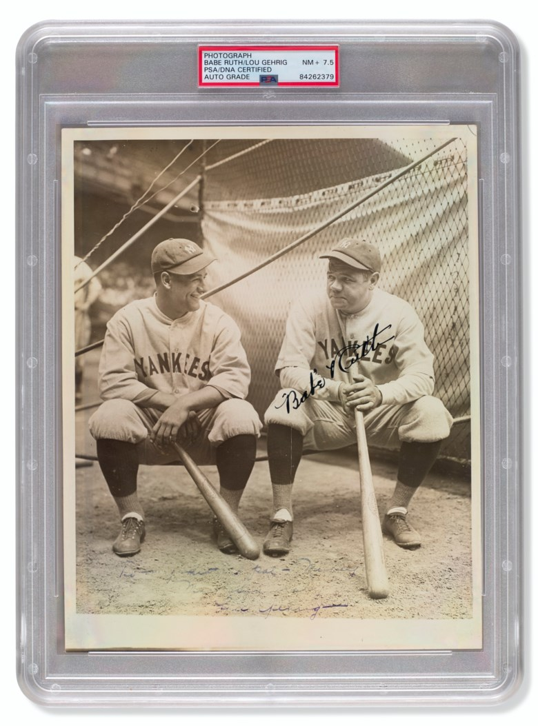 Rare Babe Ruth and Lou Gehrig autographed photograph by Louis Van Oeyen, c. 1927. Sold for $68,750 in Home Plate A Private Collection of Important Baseball Memorabilia on 16 December 2020 at Christie's in New York