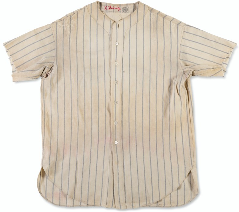 Lou Gehrig's New York Yankees Professional Model home jersey, 1931. Sold for $1,440,000 in Home Plate A Private Collection of Important Baseball Memorabilia on 16 December 2020 at Christie's in New York
