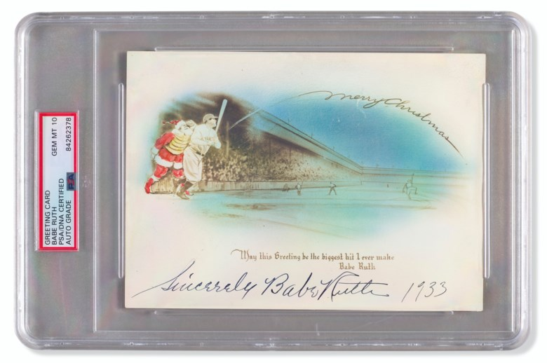 Babe Ruth autographed Christmas card, 1933. Sold for $25,000 in Home Plate A Private Collection of Important Baseball Memorabilia on 16 December 2020 at Christie's in New York