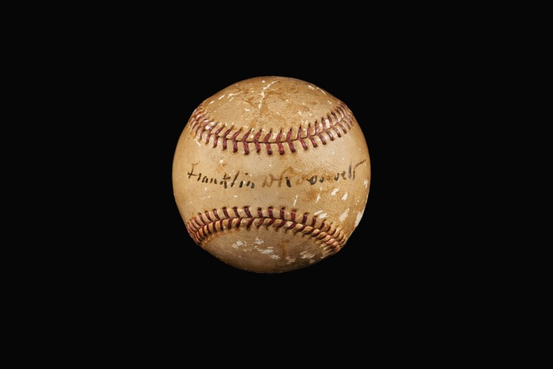 Rare Franklin D. Roosevelt (US President 1933-45) single signed baseball. Sold for $100,000 in Home Plate A Private Collection of Important Baseball Memorabilia on 16 December 2020 at Christie's in New York