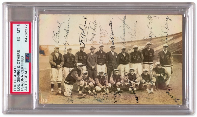 1931 U.S. All-Star Tour of Japan team autographed photograph. Rare postcard-size sepia-tone image signed by the respective players. Sold for $17,500 in Home Plate A Private Collection of Important Baseball Memorabilia on 16 December 2020 at Christie's in New York