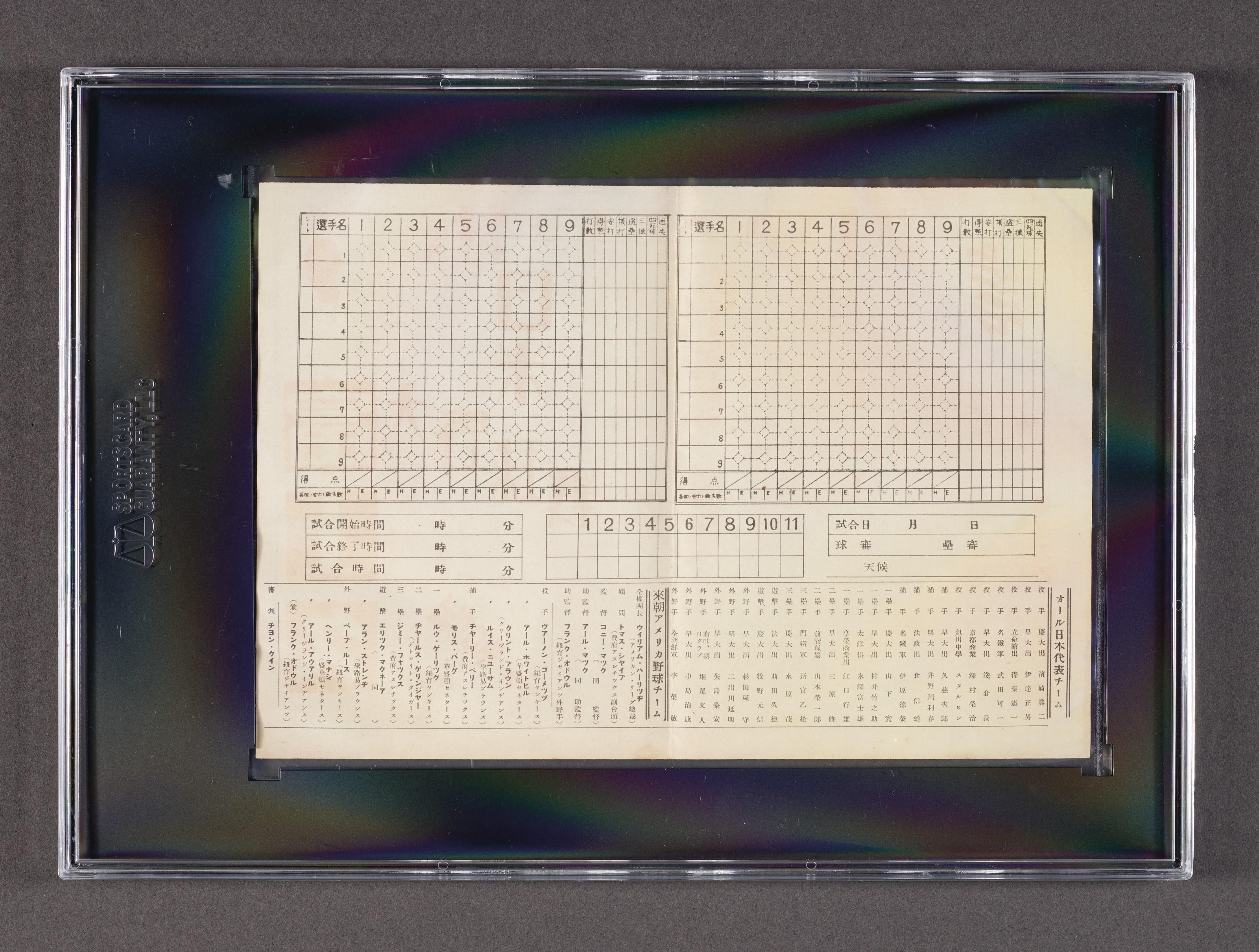 1934 U.S. All-Star Tour of Japan Souvenir Scorecard