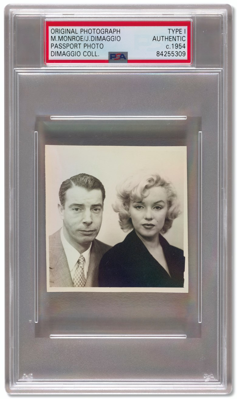 Marilyn Monroe and Joe DiMaggio U.S. passport photograph, c. 1954. Sold for $5,625 in Home Plate A Private Collection of Important Baseball Memorabilia on 16 December 2020 at Christie's in New York