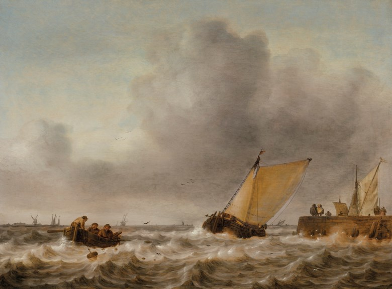 Jan Porcellis (Ghent 1584-1632 Zouterwoude), A damlooper and rowboat in a choppy sea by a jetty. Oil on panel. 18¼ x 24¾  in (46.4 x 62.9  cm). Estimate $20,000-30,000. Offered in The Martin Feldstein Collection Dutch Art in the Golden Age on 15 October 2020 at Christie's in New York