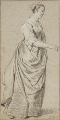 A standing woman to the right