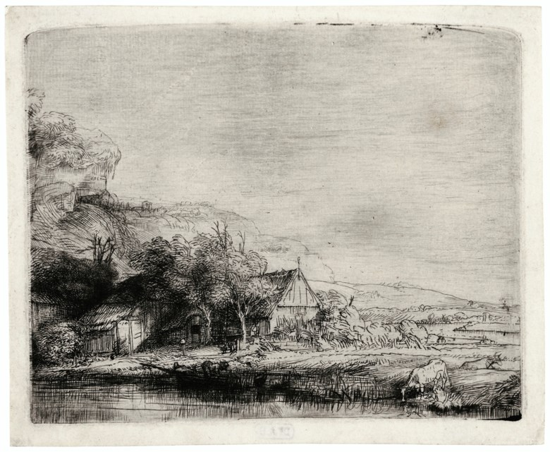 Rembrandt Harmensz. van Rijn (Leiden 1606-1669 Amsterdam), The Landscape with the Cow, circa 1650. Etching and drypoint. Plate 4⅛ x 5¼ in (10.3 x 13 cm). Sheet 4½ x 5½  in (11.5 x 14.1  cm). Estimate $50,000-70,000. Offered in The Martin Feldstein Collection Dutch Art in the Golden Age on 15 October 2020 at Christie's in New York