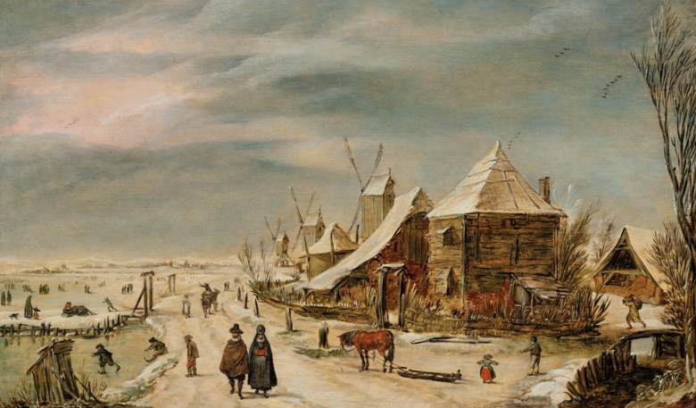 Esaias van de Velde (Amsterdam 1587-1630 The Hague), A winter landscape with a farmhouse, windmills and figures. Oil on panel. 10¾ x 18⅛  in (27.3 x 46  cm). Estimate $300,000-500,000. Offered in The Martin Feldstein Collection Dutch Art in the Golden Age on 15 October 2020 at Christie's in New York