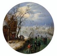 A winter landscape with skaters before a village