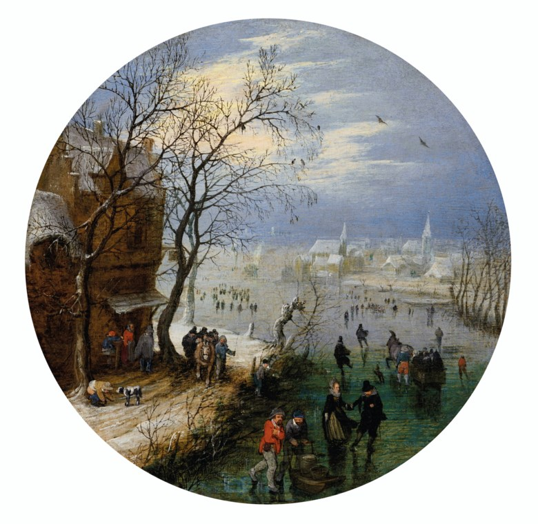 Adriaen Pietersz. van de Venne (Delft 1589-1662 The Hague), A winter landscape with skaters before a village. Oil on panel. 6⅝  in (16.8  cm)  diameter. Estimate $180,000-220,000. Offered in The Martin Feldstein Collection Dutch Art in the Golden Age on 15 October 2020 at Christie's in New York