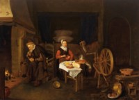 An interior with an elderly couple by a fireplace, table and spinning wheel, a bedstead behind