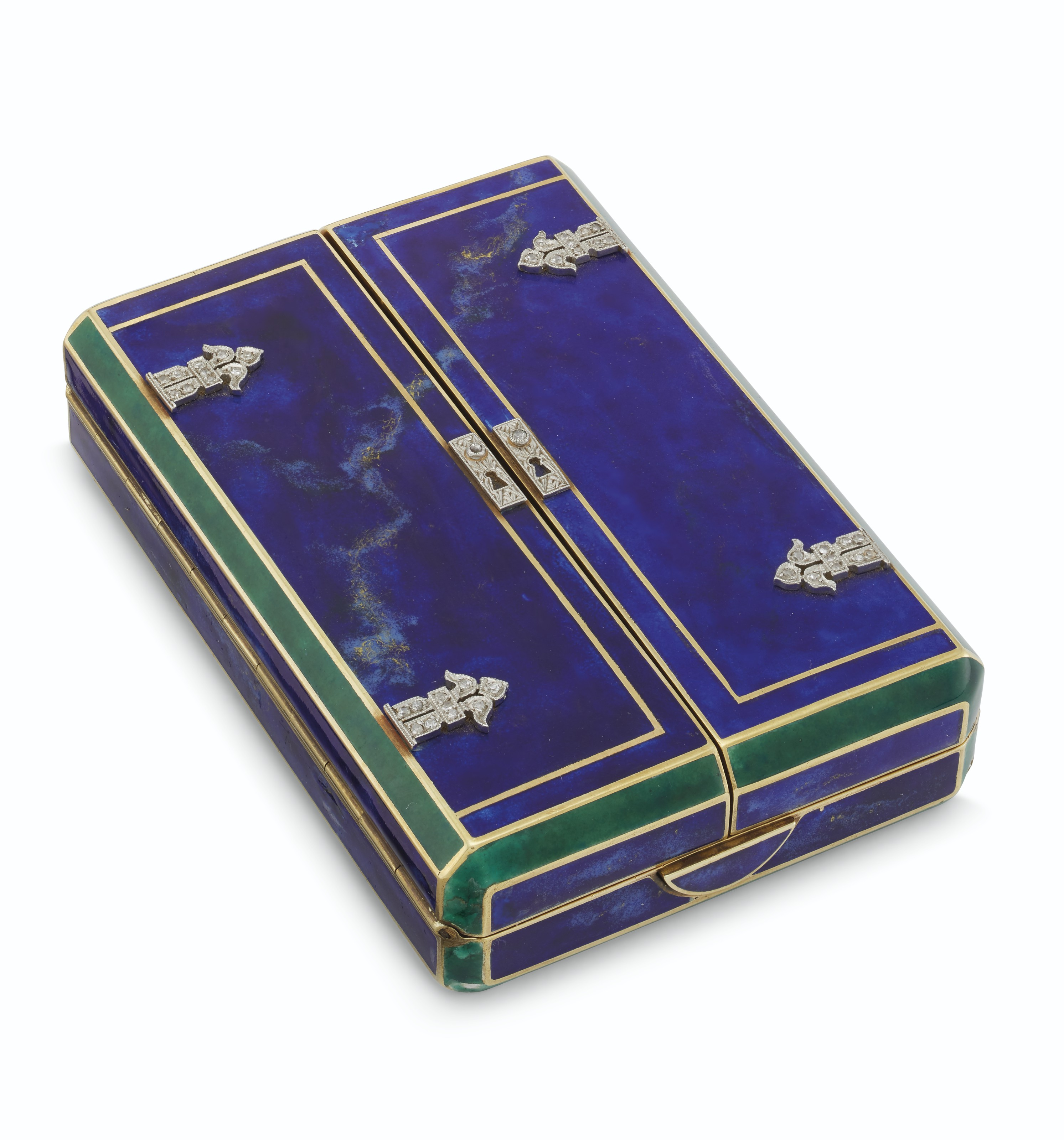 AN AMERICAN ART DECO GOLD, ENAMEL, AND DIAMOND VANITY CASE