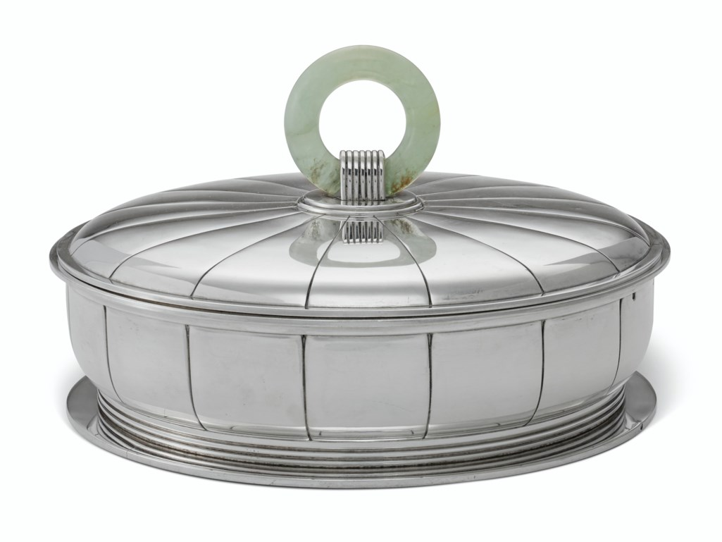 A FRENCH ART DECO SILVER AND JADE TUREEN AND COVER