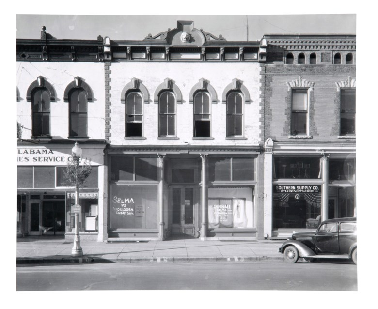 Walker Evans (1903–1975), Main Street Block, Selma, Alabama, 1936. Gelatin silver print, printed circa 1988 by the Library of Congress. Sheet 8¼ x 10 in (20.9 x 25.3 cm). Estimate $6,000-8,000. Offered in Walker Evans An American Master, 21-29 April 2020, Online