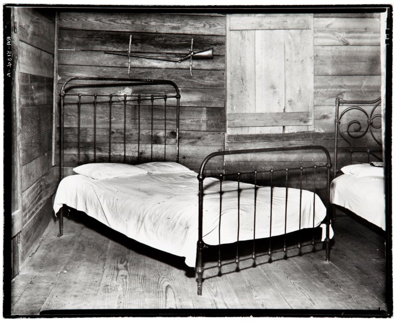 Walker Evans (1903-1975), Southern Farmer's Bed (Burroughs Family Cabin), Hale County, Alabama, 1936. Gelatin silver print, printed 1969-1970 by James Dow. Imagesheet 8 x 10 in (20.4 x 25.5 cm). Estimate $6,000-8,000. Offered in Walker Evans An American Master, 21-29 April 2020, Online